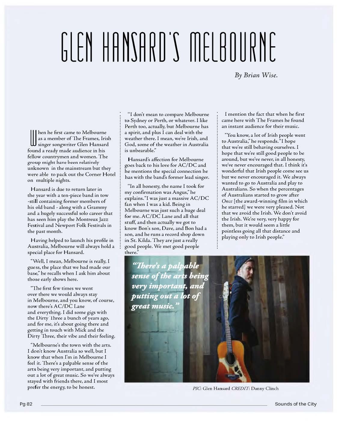 Glen Hansard Interview – Sounds of the City